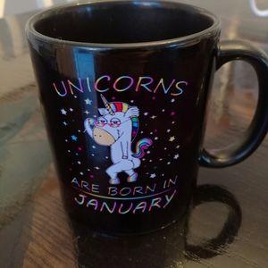Unicorns are born in January mug